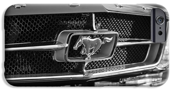 B iPhone Cases - 1965 Shelby prototype Ford Mustang Grille Emblem iPhone Case by Jill Reger