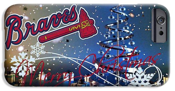 Baseball Glove iPhone Cases - Atlanta Braves iPhone Case by Joe Hamilton