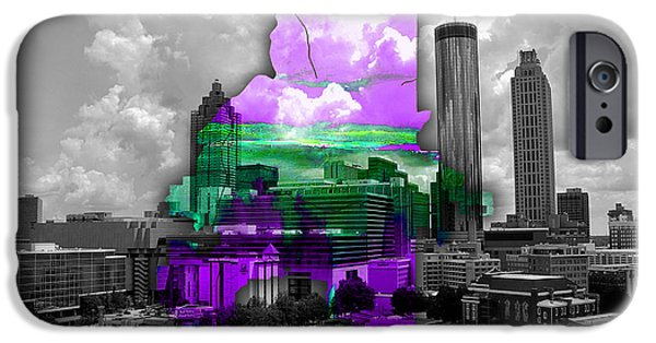 Colorful iPhone Cases - Atlanta Map and Skyline Watercolor iPhone Case by Marvin Blaine