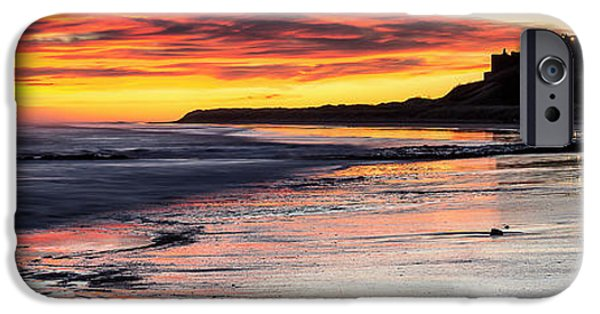Sand Castles iPhone Cases - Bamburgh Castle at Sunrise iPhone Case by David Pringle