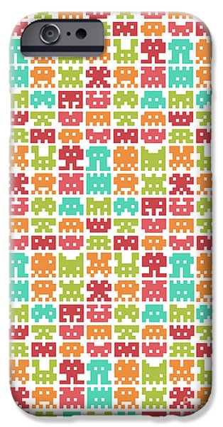 Patterned iPhone Cases - 8 Bit Monster iPhone Case by Budi Kwan