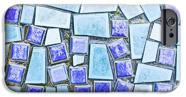 Irregular iPhone Cases - Blue tiles iPhone Case by Tom Gowanlock