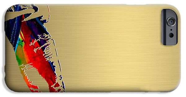 Celebrities iPhone Cases - Bruce Springsteen Gold Series iPhone Case by Marvin Blaine