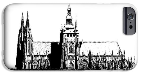 Prague Digital iPhone Cases - Cathedral of St Vitus iPhone Case by Michal Boubin