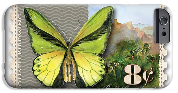 Goliath iPhone Cases - 8 Cent Butterfly Stamp iPhone Case by Amy Kirkpatrick