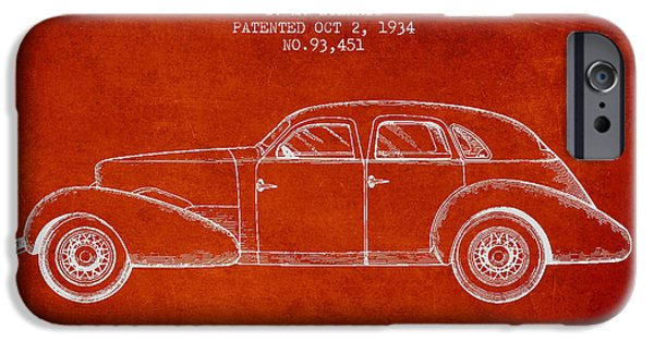 Vintage Car iPhone Cases - Cord Automobile Patent from 1934 iPhone Case by Aged Pixel