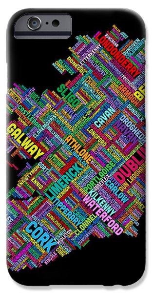 Ireland iPhone Cases - Ireland Eire City Text map iPhone Case by Michael Tompsett