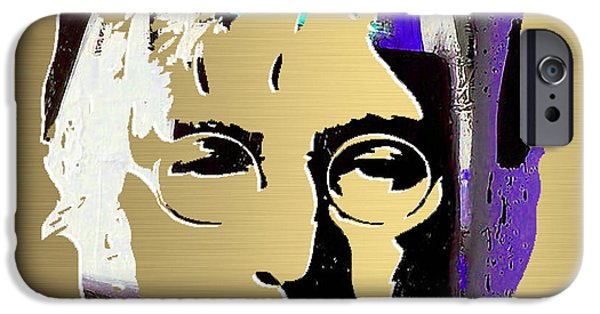 Beatles iPhone Cases - John Lennon Gold Series iPhone Case by Marvin Blaine
