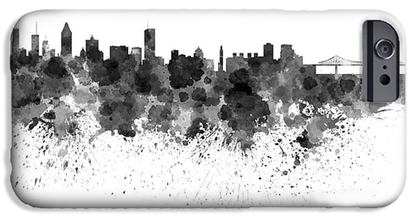 Montreal Cityscapes Paintings iPhone Cases - Montreal skyline in watercolor on white background iPhone Case by Pablo Romero