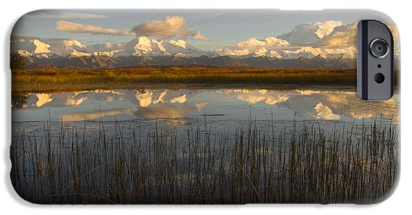 Reflecting Sunset iPhone Cases - Mt. Mckinley iPhone Case by Ron Sanford