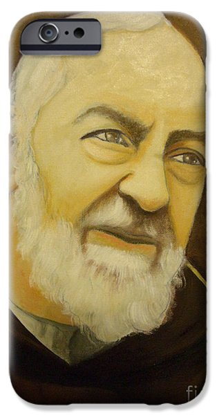 Etc. Paintings iPhone Cases - Padre Pio iPhone Case by Matteo TOTARO