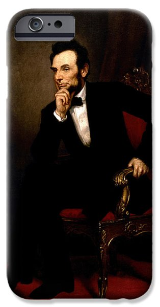 16th President Mixed Media iPhone Cases - President Abraham Lincoln iPhone Case by George Peter Alexander Healy