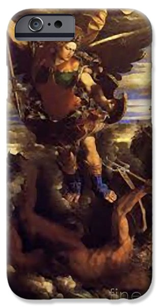Etc. Paintings iPhone Cases - Saint Michael  iPhone Case by Matteo TOTARO
