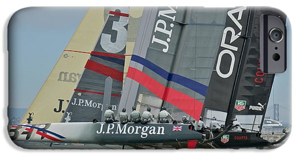 Oracle iPhone Cases - San Francisco Sailboat Racing iPhone Case by Steven Lapkin