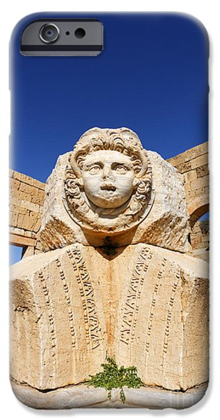 Leptis Magna iPhone Cases - Sculpted Medusa head at the Forum of Severus at Leptis Magna in Libya iPhone Case by Robert Preston