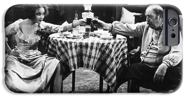 Table Wine iPhone Cases - Silent Film Still: Drinking iPhone Case by Granger