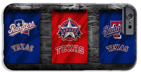 Baseball Uniform iPhone Cases - Texas Rangers iPhone Case by Joe Hamilton