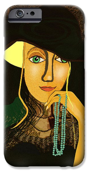 Young Digital iPhone Cases - 803 - Young girl with pearls ... iPhone Case by Irmgard Schoendorf Welch