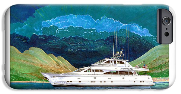 The Beginning iPhone Cases - 82 foot MegaYacht Domino Portrait iPhone Case by Jack Pumphrey