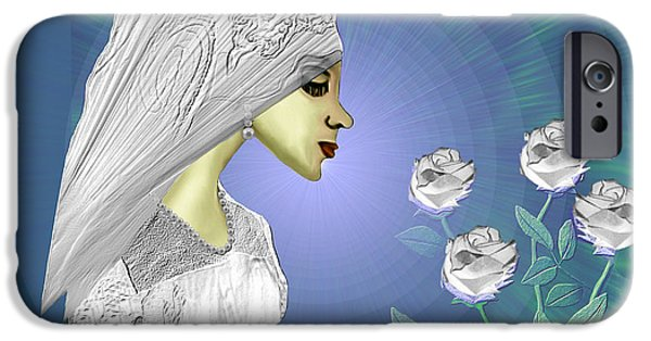 Soft Colour iPhone Cases - 828 - White roses iPhone Case by Irmgard Schoendorf Welch