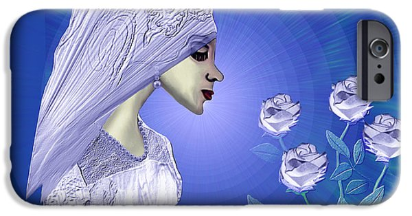 Soft Colour iPhone Cases - 829 - Young bride with roses iPhone Case by Irmgard Schoendorf Welch