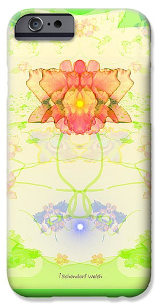 Wall Greeting Cards Digital iPhone Cases - 847 - A  Pastel Flower Card iPhone Case by Irmgard Schoendorf Welch