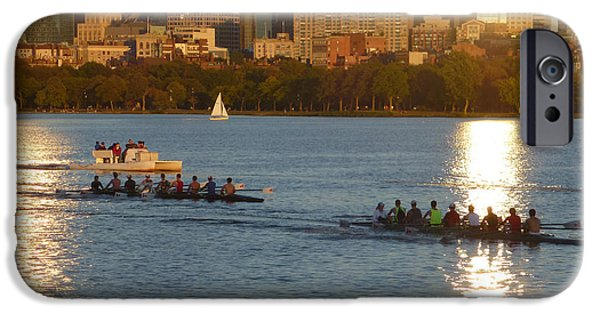 Charles River Digital Art iPhone Cases - 8x10 Charles River rowers sunset. iPhone Case by Toby McGuire