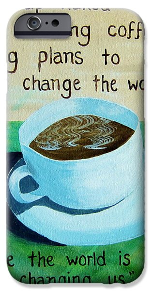 Dave Pastels iPhone Cases - 8x10 DMB Coffee Art iPhone Case by Michelle Eshleman