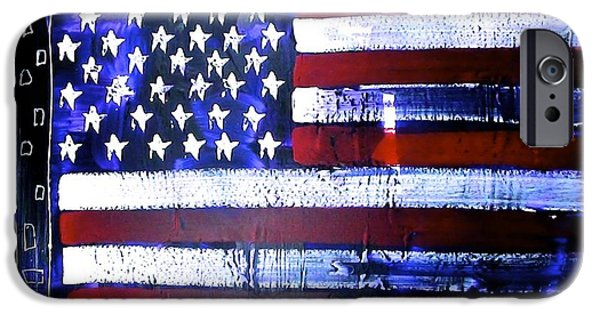Star Spangled Banner Paintings iPhone Cases - 9-11 Flag iPhone Case by Richard Sean Manning