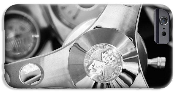 1960 iPhone Cases - 1960 Chevrolet Corvette Steering Wheel Emblem iPhone Case by Jill Reger