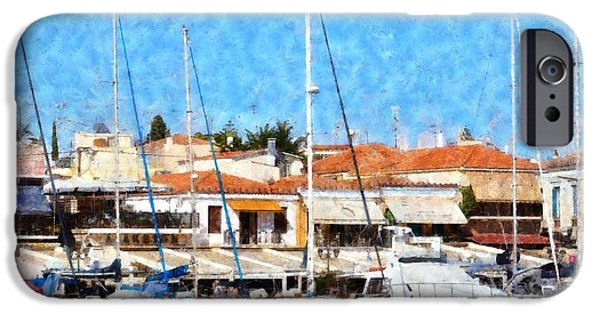 Boat iPhone Cases - Aegina port iPhone Case by George Atsametakis