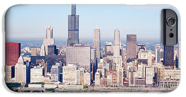 Sears Tower iPhone Cases - Aerial View Of Buildings In A City iPhone Case by Panoramic Images