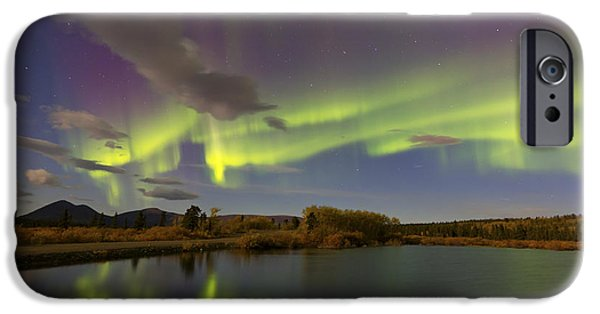 Reflections Of Sky In Water iPhone Cases - Aurora Borealis With Moonlight At Fish iPhone Case by Joseph Bradley
