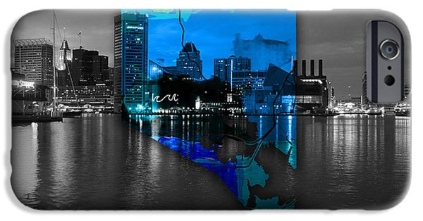 Baltimore iPhone Cases - Baltimore Map Watercolor iPhone Case by Marvin Blaine
