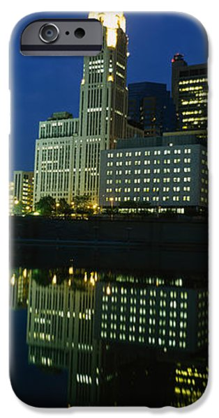 Absence iPhone Cases - Buildings In A City Lit Up At Night iPhone Case by Panoramic Images