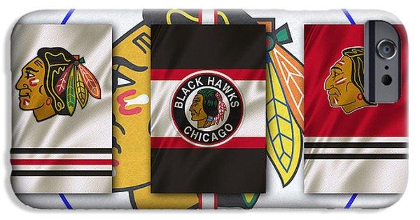 Santa iPhone Cases - Chicago Blackhawks iPhone Case by Joe Hamilton