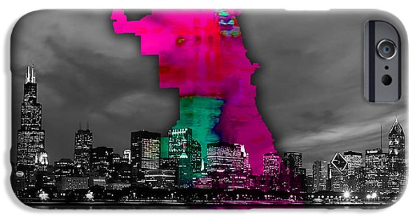Recently Sold -  - Chicago iPhone Cases - Chicago Map and Skyline Watercolor iPhone Case by Marvin Blaine
