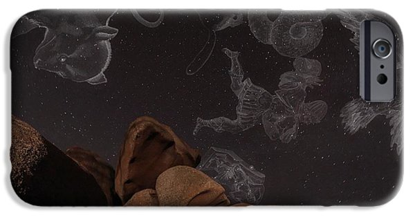 Ursa Minor iPhone Cases - Constellations In A Night Sky iPhone Case by Laurent Laveder