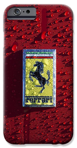 Cars iPhone Cases - Ferrari Emblem iPhone Case by Jill Reger