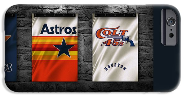 Baseball Glove iPhone Cases - Houston Astros iPhone Case by Joe Hamilton