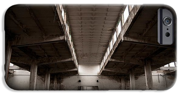 Creepy Pyrography iPhone Cases - Industrial building interior iPhone Case by Oliver Sved