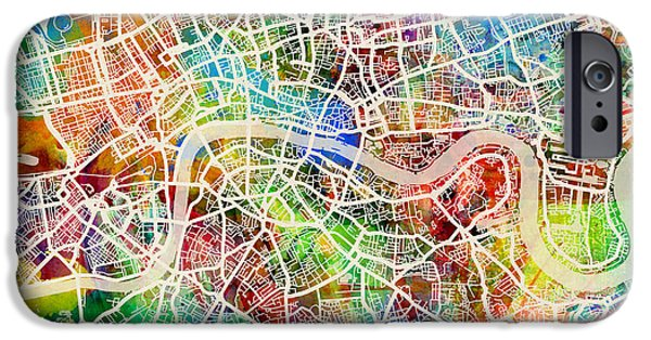 Great Britain iPhone Cases - London England Street Map iPhone Case by Michael Tompsett