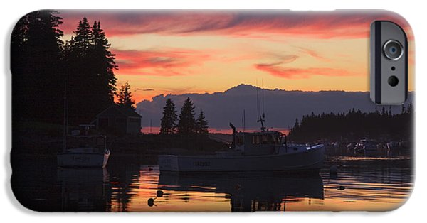 Ocean Sunset iPhone Cases - Port Clyde Maine Fishing Boats At Sunset iPhone Case by Keith Webber Jr