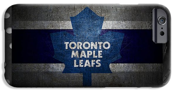 Christmas Greeting iPhone Cases - Toronto Maple Leafs iPhone Case by Joe Hamilton