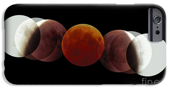 2000s iPhone Cases - Total Lunar Eclipse, Montage Image iPhone Case by Pekka Parviainen