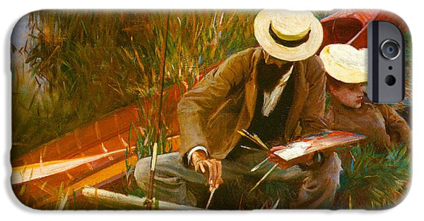 Important Paintings iPhone Cases - Paul Helleu Sketching with His Wife iPhone Case by John Singer Sargent