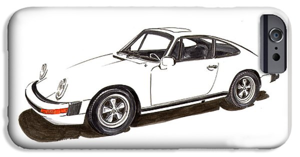 Suspension Drawings iPhone Cases - 911 White on White 1978 Porsche iPhone Case by Jack Pumphrey