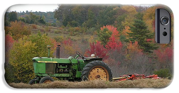 Thinking iPhone Cases - #924 D749 John Deere Tractor on Woodsom Farm in Amesbury MA iPhone Case by Robin Lee Mccarthy Photography
