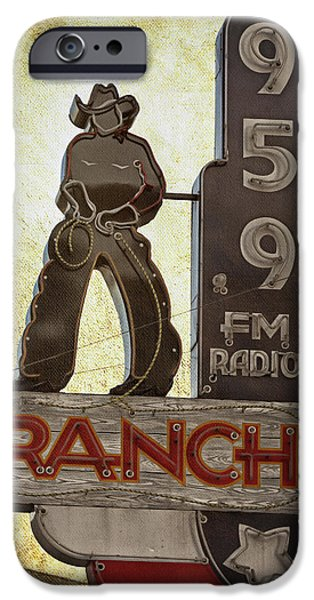 Sign iPhone Cases - 95.9 The Ranch iPhone Case by Joan Carroll