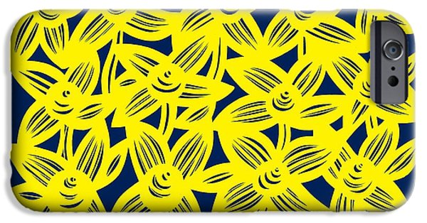 Graphic Design iPhone Cases - Rigsby Flowers Yellow Blue iPhone Case by Eddie Alfaro